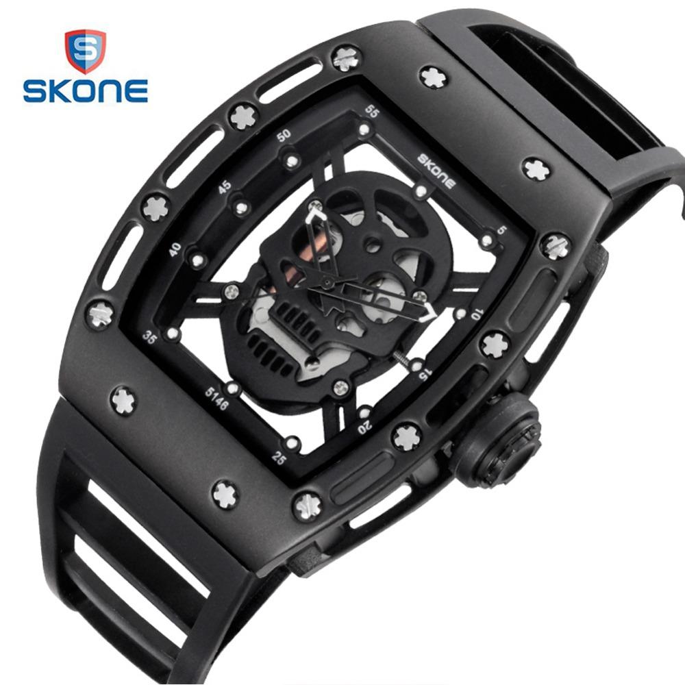 Prix pour SKONE Squelette Pirate Crâne Militaire Montre Hommes Marque De Luxe Caveira Hommes Quartz Montre De Mode Étanche Montres Horloge Hodinky