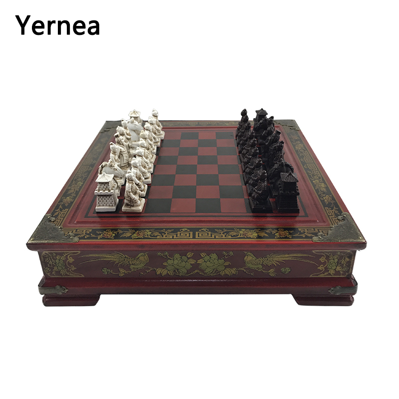 Yernea New Vintage Chess Set Collection Chinese Chess Board Game Wood Carving Resin Chessman Christmas Birthday