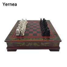 Yernea New Vintage Chess Set Collection Chinese Board Game Wood Carving Resin Chessman Christmas Birthday Gifts