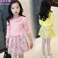 2017 Hot Sale Spring Girl Clothes Bowknot Ribbon Floral Princess Girl Dress In Good Quality