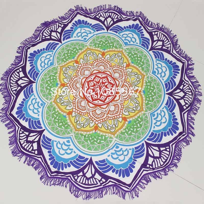 Drop Shipping Mandala Tapestry With Tassel Indian Lotus Totem Tapestries Blanket Yoga Mat Sun Block Round Boho Yoga Beach Towel