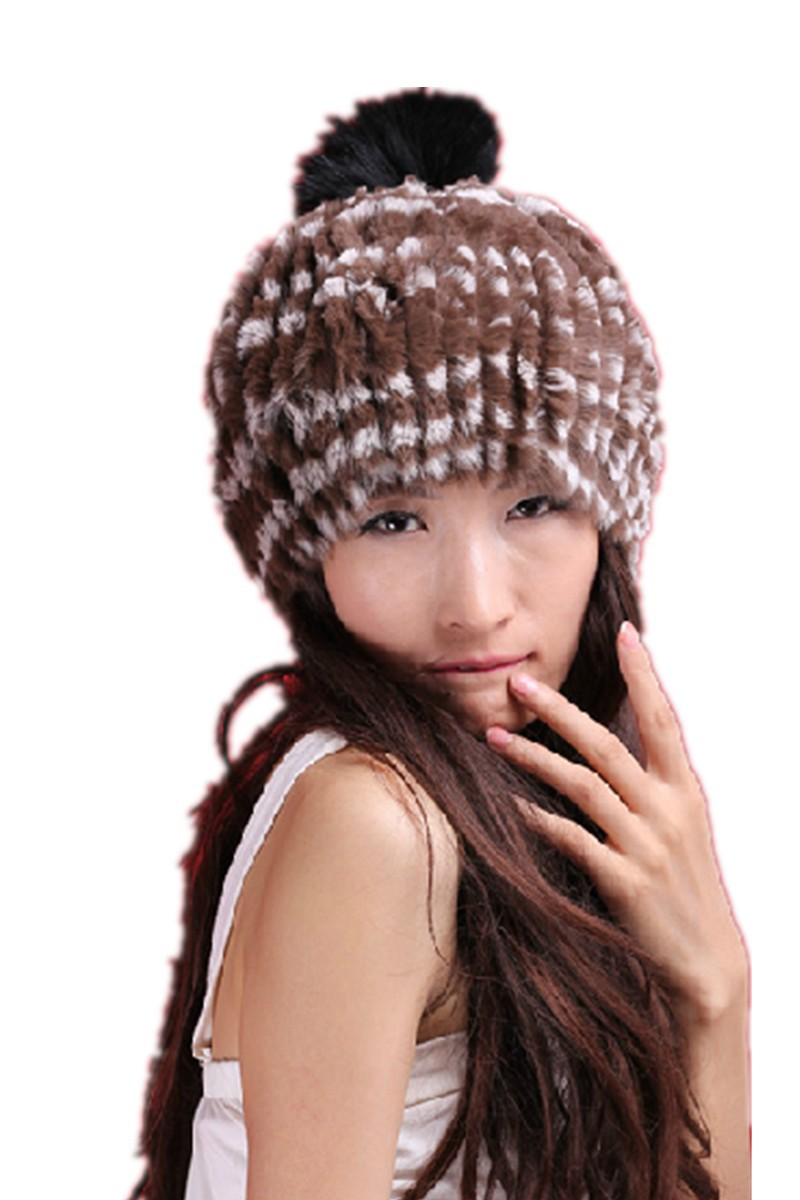 ФОТО H372-autumn winter natural rex rabbit fur cap covering with fashion fox  ball,knitted brown black  beige white fur hat women