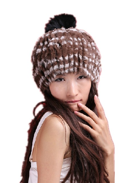 H372-autumn winter natural rex rabbit fur cap covering with fashion fox  ball,knitted brown black  beige white fur hat women