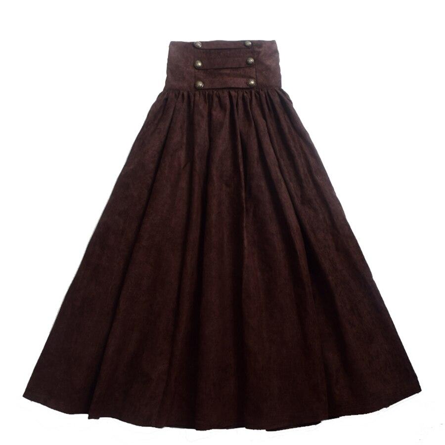 女性帝国ビクトリア朝スカートヴィンテージルネサンスゴシックハイウエストダブルブレストロングウォーキングコスプレスチームパンクスカート  グループ上の レディース衣服 からの スカート の中 2