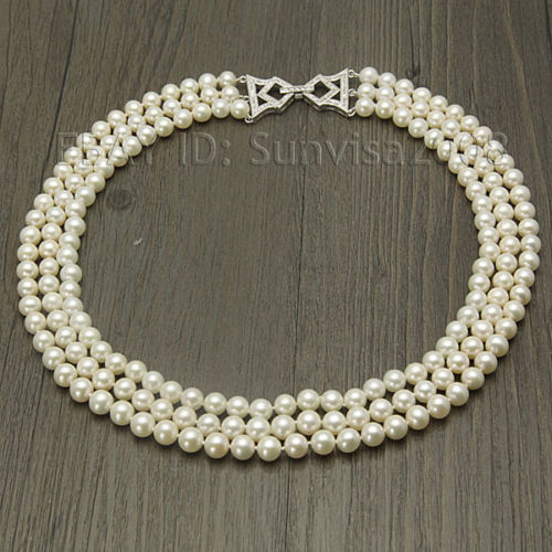 100% Selling Picture full beautiful 3 rows AAA 7-8mm White Round Freshwater Cultured Pearl Necklace