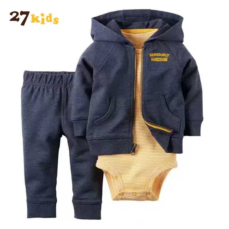 27Kids 3Pcs/Set Clothes for Baby High Quality Autumn Winter Kids Clothing Hot Sale Casual Long-sleeved Romper Jacket Pants Suit