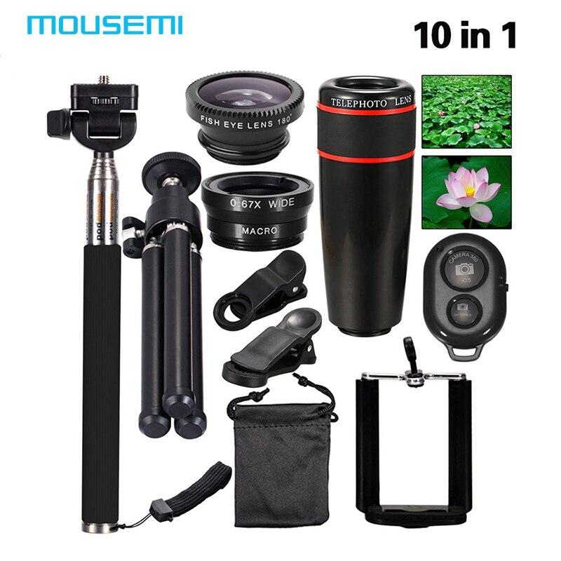 imágenes para Nueva 10in1 Kit 8x Teleobjetivo + Fish Eye Lente de La Cámara Del Teléfono + lente granangular + macro + selfie stick monopod + mini trípode