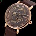 Dragón Mens Relojes de Marca de Lujo de Negocios Reloj Para Hombre Reloj de Oro Reloj de pulsera de Moda Reloj de Cuarzo Hombres Relojes Hombre 2017 XFCS