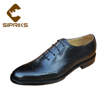 Sipriks Luxury Carved Baby Calf Leather Oxfords For Men Italian Handmade Goodyear Welted Shoes Baby Cow Black Dress Shoes New