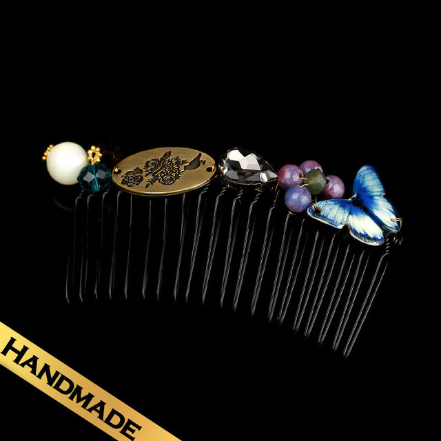 Special Hair Accessories Synthetic Crystal Butterfly Vintage Design Combs Free Shipping New Style FS13A09142