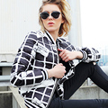 2016 new  winter down jackets black and white plaid down coat fashion personality letter print short jackets