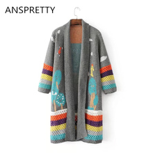 Anspretty Apparel Autumn Winter long cardigan women knitted hollow out colorful striped sweater lolita patterns casual cardigans(China)