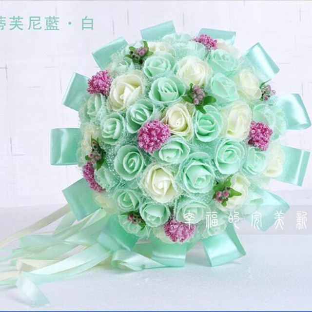2016 Bridal Bouquet Artificial 45pcs Artificial flower Rose with Ribbon Big Wedding Bouquet Flowers Bridesmaid Bridal Holder