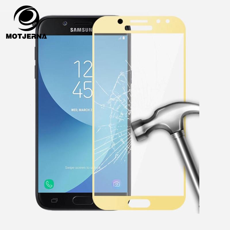 Motjerna полное покрытие закаленное стекло для Samsung Galaxy J3 J5 J7 2017 J330 J530 J730 протектор экрана стекло фильм ...