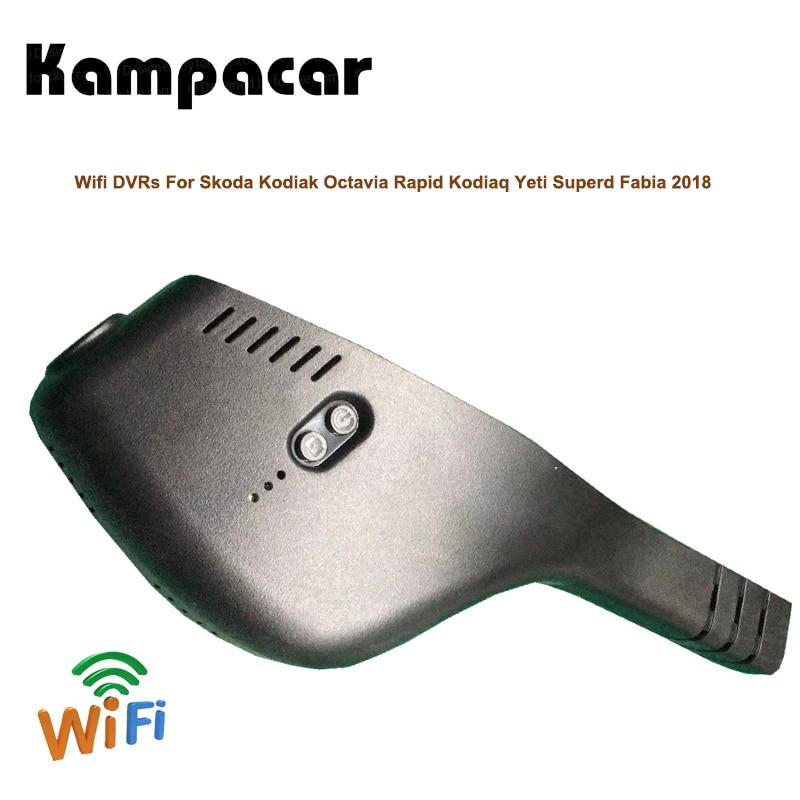 Kodiak Kampacar HD Escondida Gravador De Vídeo Wi-fi Para Skoda Octavia Rápida Kodiaq Superd Yeti Fabia 2018 Câmera Dupla Traço Cam dvr carro