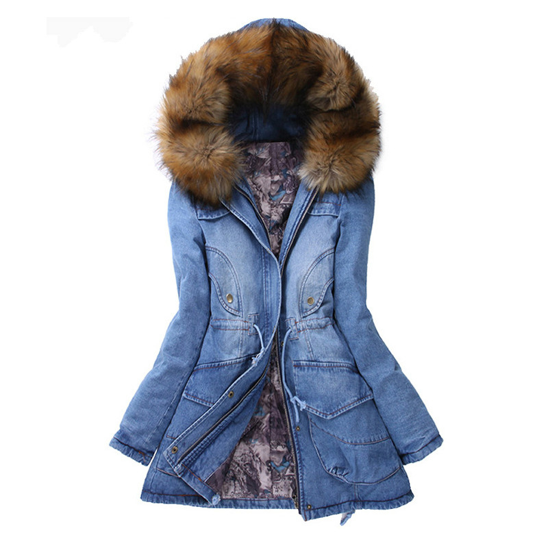 2017 Women Winter Jean Jacket Padded Cotton with Large Fur Collars Female Fashion Long Sleeve Coat Hooded Warm Outwear bishe spring autumn winter new 2017 fur jean denim jacket winter blue women jacket coat with hooded long sleeves warm outwear