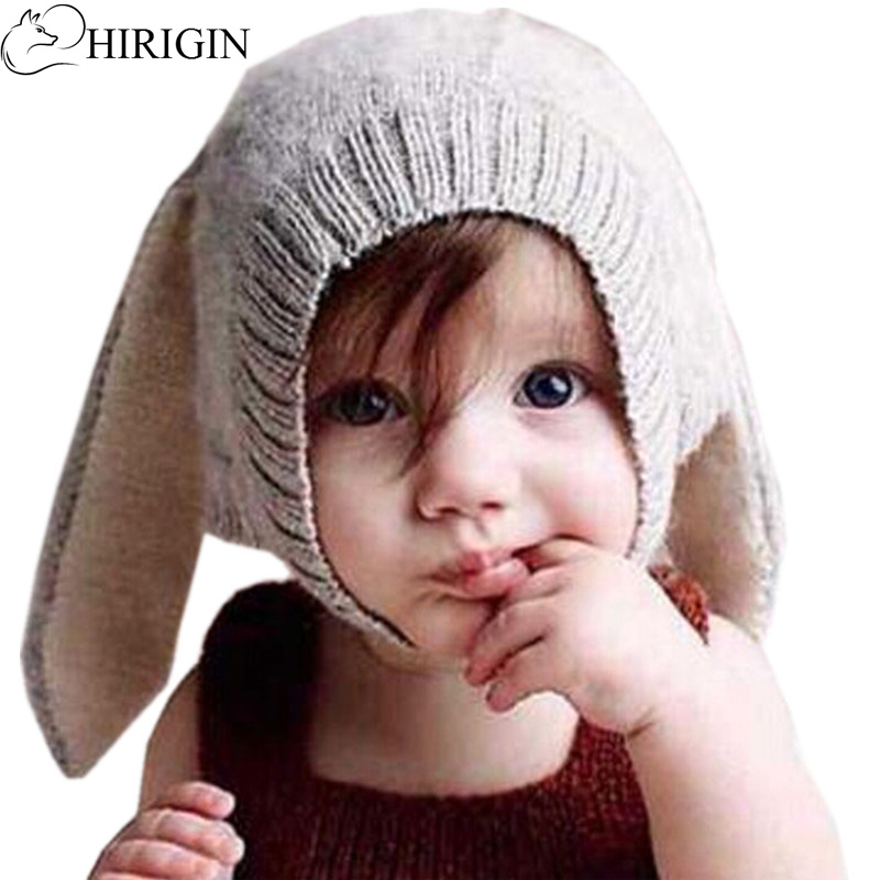Baby Rabbit Ears Hat Toddler Autumn Winter Knitted Caps for Children Baby Bunny Beanie Hats Accessories Photography Props