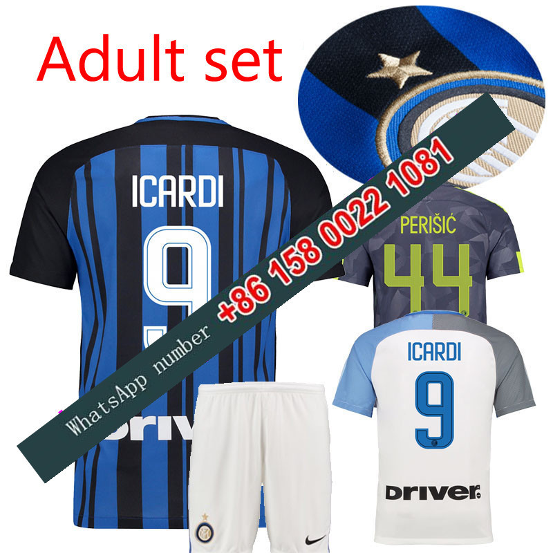 3fc3d2a4deac 2017 2018 Inter Milan set jersey 17 18 Home Away football camisetas Thai  AAA shirt survetement football Soccer jersey-in T-Shirts from Men s Clothing  .