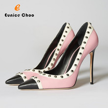 Eunice Choo Round Rivets Edge Black Pink Mix Color Party Shoes High Heels  Pointed Toe Women def366a94f30