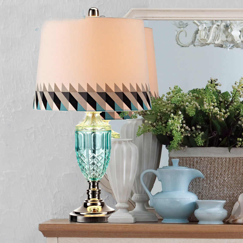 Mediterranean simple European - style lamp bedroom bedside lamp modern simple lamp creative table lamp abajur para quarto 12 inch simple european style modern restaurant droplight tiffany glass lighting mahjong table mediterranean balcony lamp