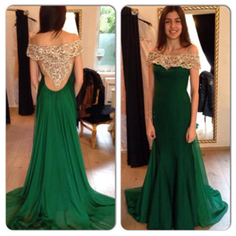 Dark Green Crystal Long Chiffon Prom Dress Short Sleeve Off the ...
