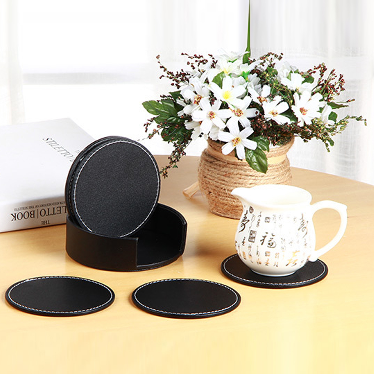 6 PCS Circular PU Leather Coasters Table Mat Pad for Coffee Tea Home Cafe Restaurant Hot ...