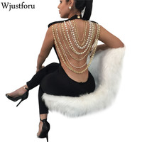 Wjustforu Sexy Pearl Chain Backless Jumpsuit Female Outfits Bodycon Club Party Overalls Femme Rompers Womens Jumpsuit