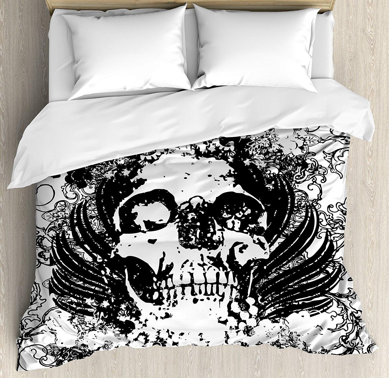 Gothic Duvet Cover Set by Scary Skull in Grunge Sketch Dead Themed Dark Horror Evil Illustration Image, 4 Piece Bedding Set