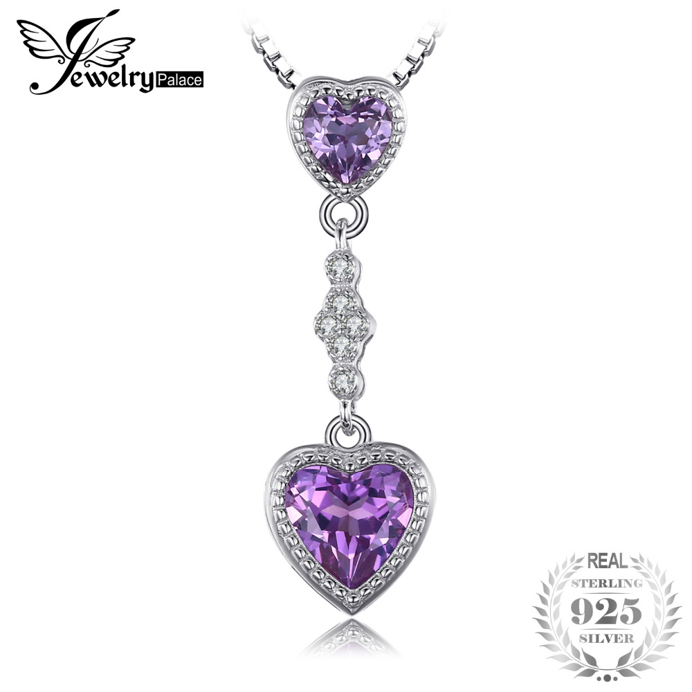 цена JewelryPalace Heart 3.2ct Created Alexandrite Sapphire Necklaces & Pendants 925 Sterling Silver Chain Brand Fashion Fine Jewelry