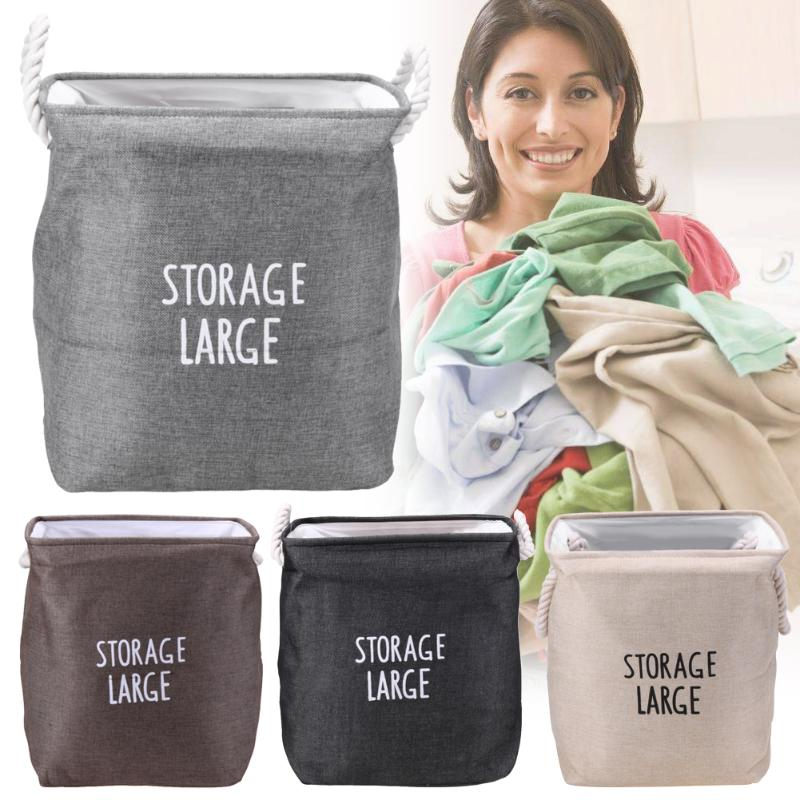 Foldable Storage Bin Rope Fabric Basket Dirty Toy Clothe Laundry Organizer Office Home Sundries Storage Holder Organizer Box