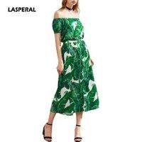 LASPERAL 2017 Vrouwen Sexy Zomer Jurk Groene Palm Leaf Print Slim jurk Vrouwen Off Shoulder Korte Mouw Een Lijn Lange Jurk Vestido
