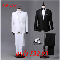 Custom Made Mens Black White Suits Jacket Pants Formal Dress Men Suit Set Men Wedding Suits