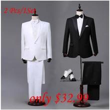 Maßgeschneiderte Herren Schwarz Weiße Anzüge Jacke Hosen Formale Kleid männer Anzug männer hochzeit anzüge bräutigam smoking für männer blazer