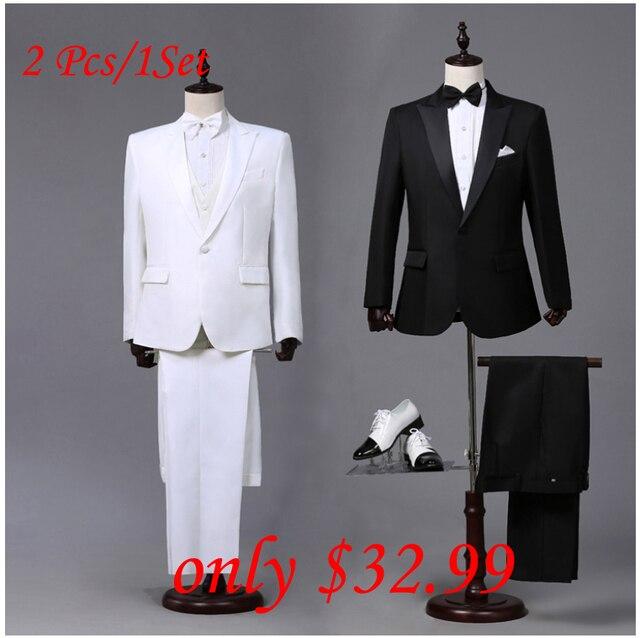 Custom Made Mens Black White Suits Jacket Pants Formal Dress Men Suit Set Wedding