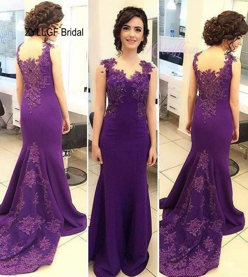 ZYLLGF Bridal Long Purple Evening Gowns Mermaid Sleeveless Cheap ...