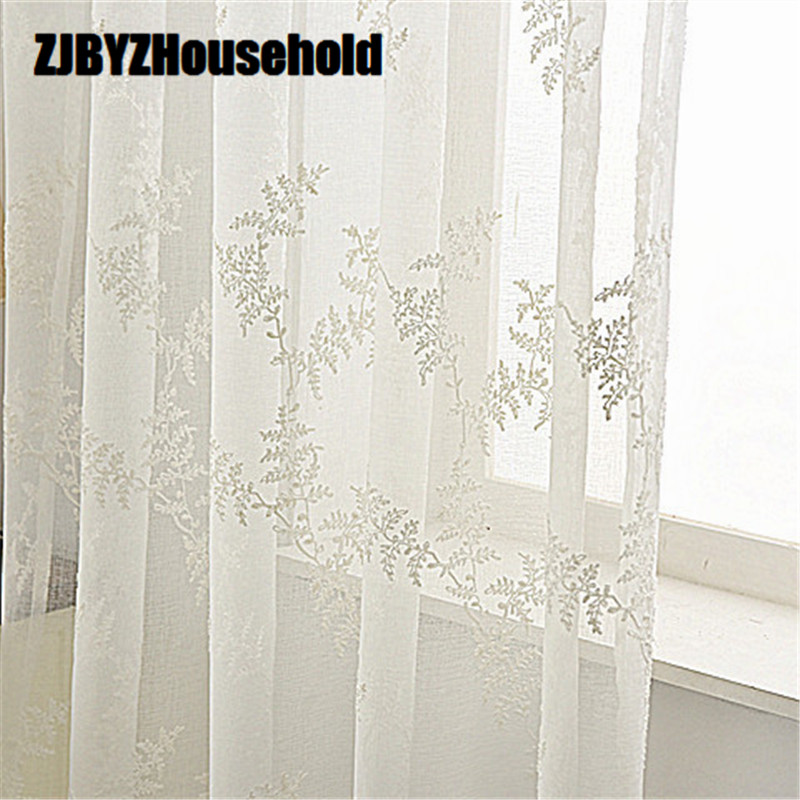 New Fabric Curtain, Hollow Embroidery Curtains, White Pine Needles,Curtains Tulle For Living Dining Room Bedroom