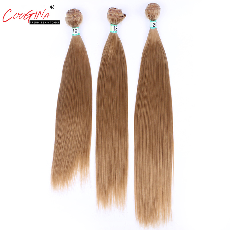 Coogina Synthetic Hair 16-20inch One Piece Straight Hair Weaving 27# Synthetic Hair Weave Sew In Hair Extensions For Women