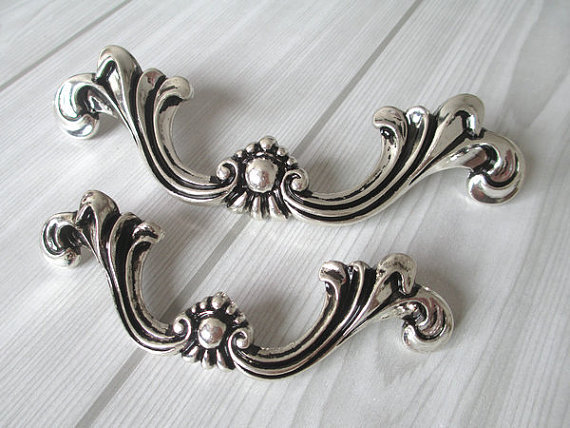 Shabby Chic Dresser Pull Drawer Pulls Door Handles Silver Black French Country Vintage Furniture Cabinet S