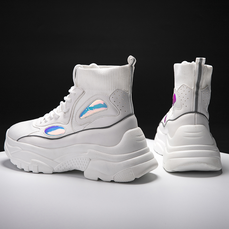 Hemmyi 2019 nouvelles chaussures à la mode Femme baskets hautes femmes chaussures à plate-forme bottines Basket Femme Chunky chaussures à paillettes