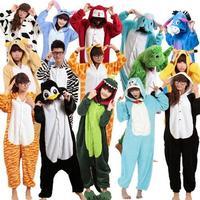 New Unisex Adult Flannel Pajamas Animal Pyjama Suits Cosplay Adult Winter Garment Cute Cartoon Animal Pajama