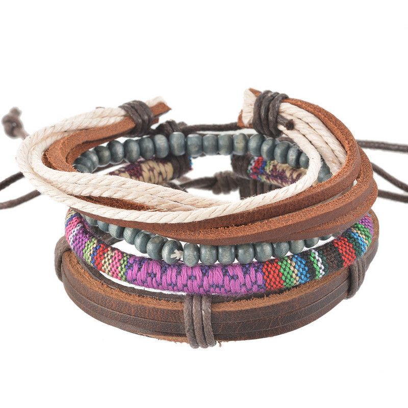 Popular Bangle Bracelets: 1Set 4pcs Braided Adjustable Leather Popular Bracelet Cuff