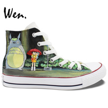 Wen Design Custom Hand Painted Shoes Anime My Neighbor Totoro Bus Tram High Top Women Men's Canvas Sneakers