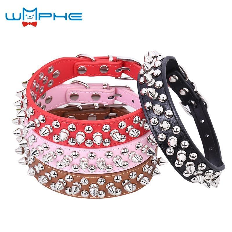 Punk Style Spiked font b Pet b font Dog Collar Round Bullet Nail Rivet Studded Collar