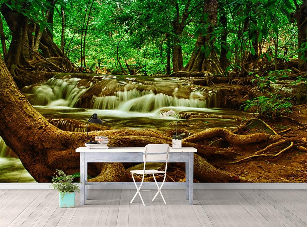 Custom 3d landscape wallpaper for walls 3 d photo Nostalgic waterfall old trees TV backdrop nonwoven 3d mural wallpaper customize wallpaper for walls 3 d swan lake picture in picture 3d tv backdrop 3d photo wall mural 3d landscape wallpaper