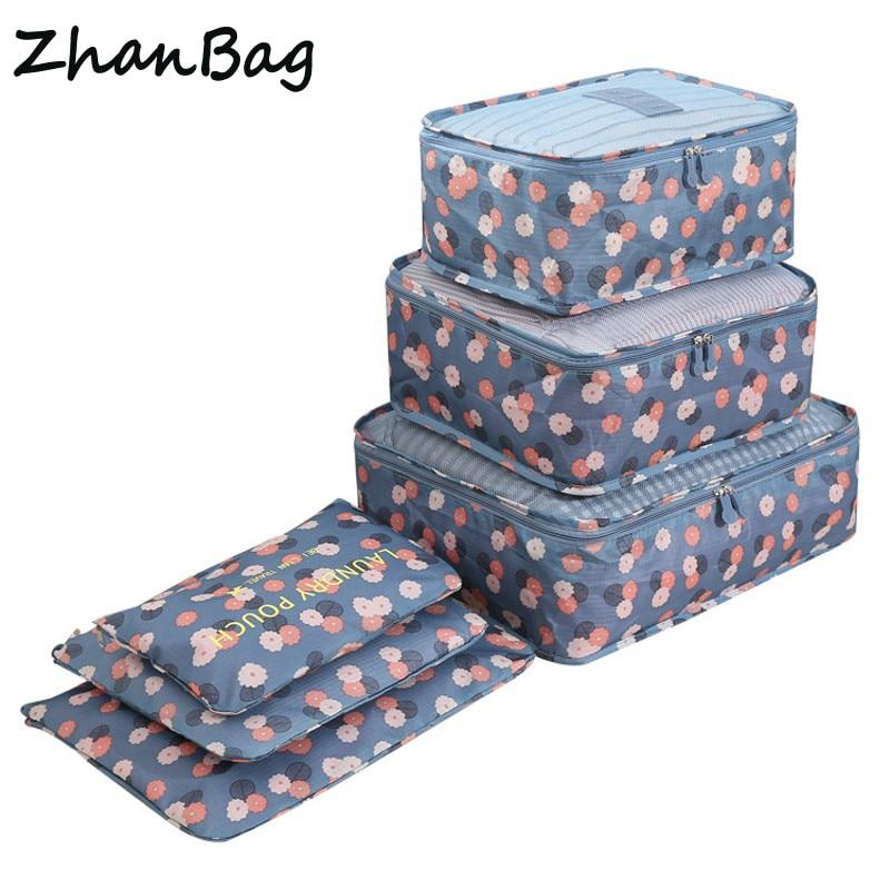 6 unids/set alta calidad Oxford tela de malla viaje equipaje embalaje Cube organizador higiene Personal viaje bolsas
