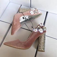 2018 spring and autumn pink velvet face flower rhinestone pointed high heels women's shallow mouth with single shoes