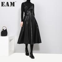 [EAM] 2018 New autumn Solid Color Strapless Black PU Leather High Waist Belt Zipper Loose Dress For Women Fashion Tide JD032