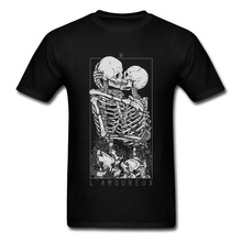 The Lovers Sweet Kiss Skull Tshirts Hug Me Pure Cotton Couple Skeleton T Shirt Men Easter Day Death Punk Style Shirts