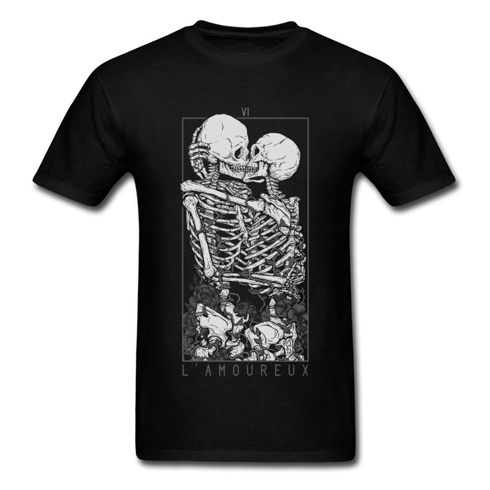 The Lovers Sweet Kiss Skull <font><b>Tshirts</b></font> <font><b>Hug</b></font> Me Pure Cotton Couple Skeleton Skull T Shirt Men Easter Day Death Punk Style T Shirts image