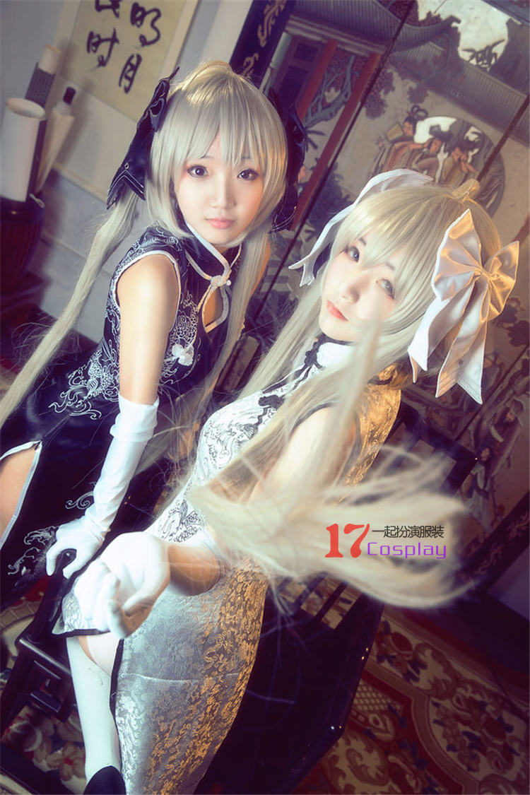 Kasugano Sora Cosplay Cheongsam Anime Yosuga no Sora Cosplay Costumes Free Shipping (Cheongsam + Glove + Hair Accessory)